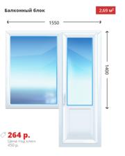 Балконный блок KBE Эксперт 1550х1400 дешево